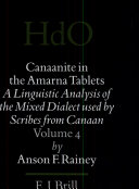 Canaanite in the Amarna tablets. 4. References and index of texts cited