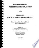 Finding of No Significant Impacts and Environmental Assessment/initial Study for the Blacklock Restoration Project