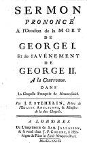 Sermon Pron     L occasion de la Mort de George Ier Et de L av  nement de George II