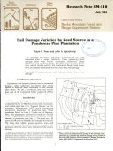 Hail Damage Variation by Seed Source in a Ponderosa Pine Plantation