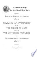 Handbook of Information as to the Several Schools and Courses of Instruction