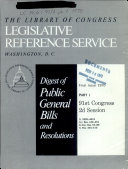 Digest Of Public General Bills And Resolutions