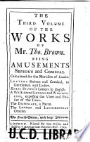 The Works Of Mr Thomas Brown Serious And Comical Book PDF