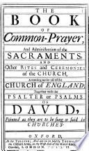 The Book of Common prayer     Together with the Psalter Or Psalms of David  Etc