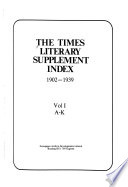 The Times Literary Supplement Index, 1902-1939