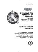 Environmental Readiness of Emerging Energy Technologies