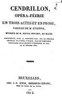 Cendrillon, opéra-féerie en trois actes et en prose