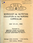 Mln Mda Mdh Workshop On Nutrition Education In The Nursing Curriculum May 23 24 1958