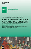 Pdf Early Printed Books as Material Objects