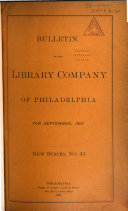 Bulletin of the Library Company of Philadelphia