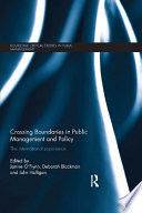Crossing Boundaries in Public Management and Policy