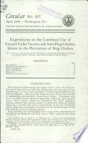 Experiments on the Combined Use of Crystal-violet Vaccine and Anti-hog-cholera Serum in the Prevention of Hog Cholera