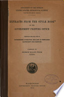 Extracts from the Style Book of the Government Printing Office