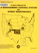 A User s Manual for a Management Control System for Street Maintenance