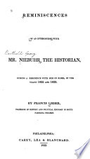 Reminiscences of an Intercourse with Mr  Niebuhr  the Historian Book