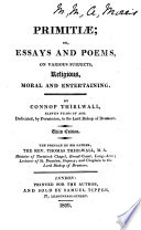 Primitiæ; or, Essays and poems ... Third edition. The preface by ... Thomas Thirlwall