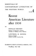 Recent American Literature After 1930