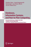 Databases  Information Systems  and Peer to Peer Computing