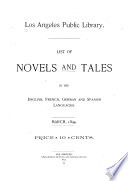 List of Novels and Tales in the English, French, German and Spanish Languages, March, 1894