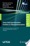 Smart Grid And Innovative Frontiers In Telecommunications Book PDF