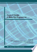 Current Trends In Materials Engineering Book PDF