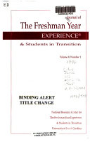 Journal of the Freshman Year Experience   Students in Transition