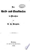 Das geld- und bankwesen in Preussen