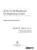 Icd 9 Cm Workbook for Beginning Coders  2004