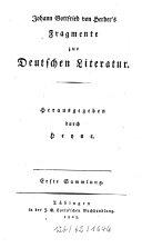 Fragmente zur deutschen Literatur