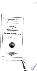 Directory Of Field Activities Of The Bureau Of Plant Industry