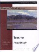 Rhoades to Reading Teacher's Answer Key Levels I-V
