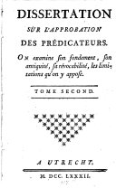Dissertation Sur L'Approbation Des Prédicateurs