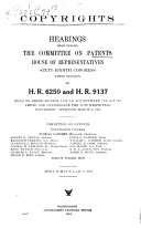 Copyrights: Hearings Held Before the Committee on Patents, ...