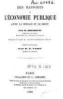 Des rapports de l'économie publique avec la morale et le droit
