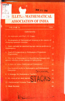 Bulletin Of The Mathematical Association Of India Book PDF