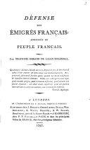 Défense des émigrés Français