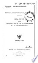 Refugee Relief Act of 1953  Semiannual Report Book