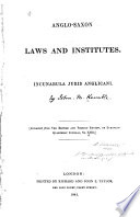 Anglo-Saxon laws and institutes