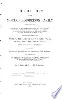 The History of the Morison Or Morrison Family