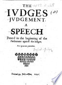 The Judges Judgement  a speech penned in the beginning of the Parliament against the Judges  Perignotum quendam Book PDF