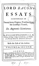Lord Bacon's Essays, Or Counsels Moral and Civil