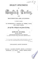 Select Specimens of English Poetry     Fifth edition  greatly enlarged