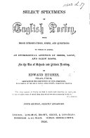 Select Specimens of English Poetry ... Fifth edition, greatly enlarged