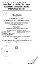 Department of Housing and Urban Development  independent Agencies Appropriations for 1981