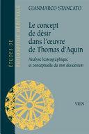 Le concept de désir dans l'oeuvre de Thomas d'Aquin ebook