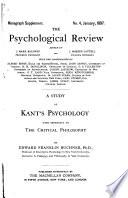 A Study of Kant s Psychology