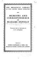 Memoirs and correspondence of Madame d'Epinay