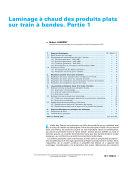 Laminage a Chaud des Produits Plats sur Train a Bandes. Partie 1