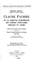 Claude Fauriel et la fortune européenne des poésies populaires grecque et serbe