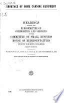 Shortage of Home Canning Equipment  Hearings Before the Subcommittee on Commodities and Services of       94 1  June 24  25  June 22  23   September 10  1975